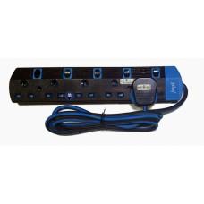 Trailing Socket 5 Gang Neon Surge 2M Black- 9990N ( Sirim )